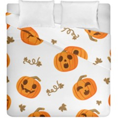 Funny Spooky Halloween Pumpkins Pattern White Orange Duvet Cover Double Side (king Size)