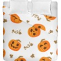 Funny Spooky Halloween Pumpkins Pattern White Orange Duvet Cover Double Side (King Size) View1