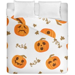 Funny Spooky Halloween Pumpkins Pattern White Orange Duvet Cover Double Side (california King Size)