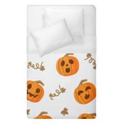 Funny Spooky Halloween Pumpkins Pattern White Orange Duvet Cover (single Size)