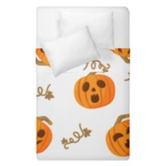 Funny Spooky Halloween Pumpkins Pattern White Orange Duvet Cover Double Side (single Size)