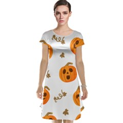 Funny Spooky Halloween Pumpkins Pattern White Orange Cap Sleeve Nightdress