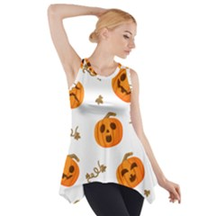 Funny Spooky Halloween Pumpkins Pattern White Orange Side Drop Tank Tunic