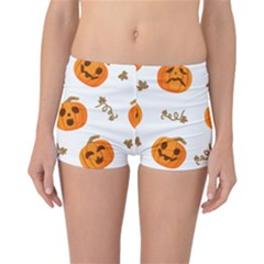 Funny Spooky Halloween Pumpkins Pattern White Orange Reversible Boyleg Bikini Bottoms