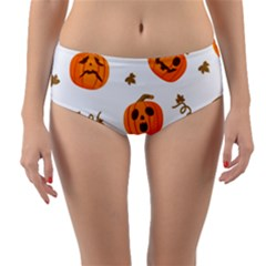 Funny Spooky Halloween Pumpkins Pattern White Orange Reversible Mid Waist Bikini Bottoms