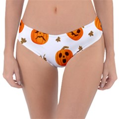 Funny Spooky Halloween Pumpkins Pattern White Orange Reversible Classic Bikini Bottoms