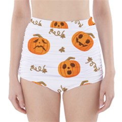 Funny Spooky Halloween Pumpkins Pattern White Orange High Waisted Bikini Bottoms