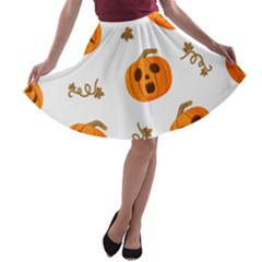 Funny Spooky Halloween Pumpkins Pattern White Orange A Line Skater Skirt by HalloweenParty
