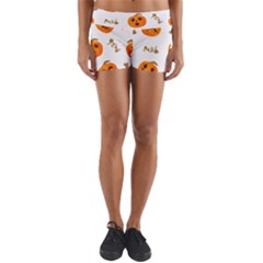 Funny Spooky Halloween Pumpkins Pattern White Orange Yoga Shorts