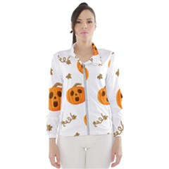 Funny Spooky Halloween Pumpkins Pattern White Orange Windbreaker (women)