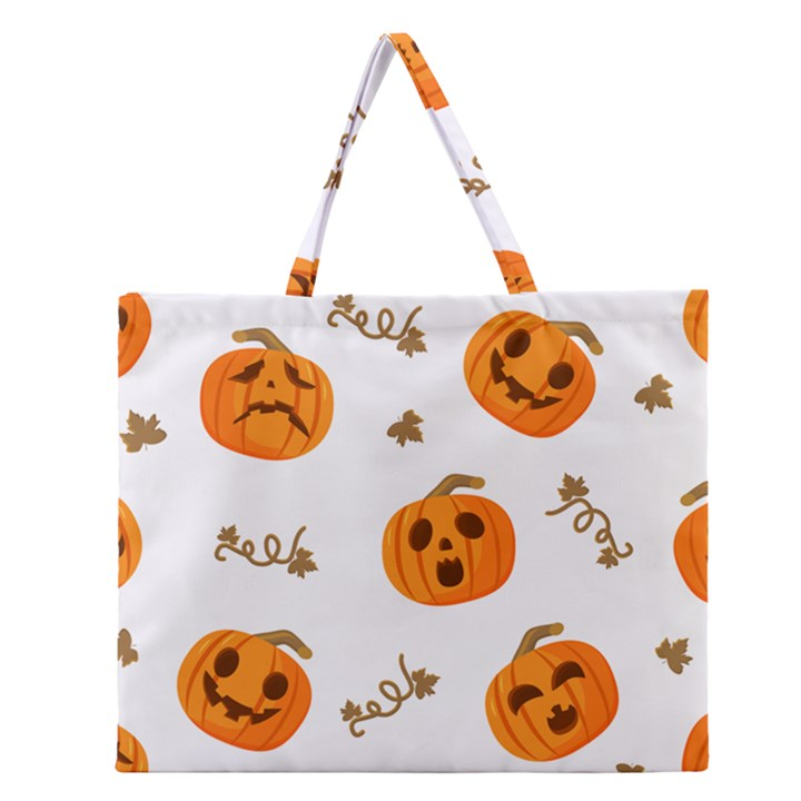 Funny Spooky Halloween Pumpkins Pattern White Orange Zipper Large Tote Bag