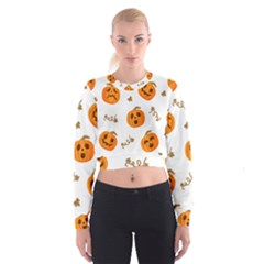 Funny Spooky Halloween Pumpkins Pattern White Orange Cropped Sweatshirt