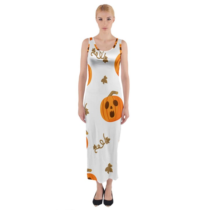 Funny Spooky Halloween Pumpkins Pattern White Orange Fitted Maxi Dress