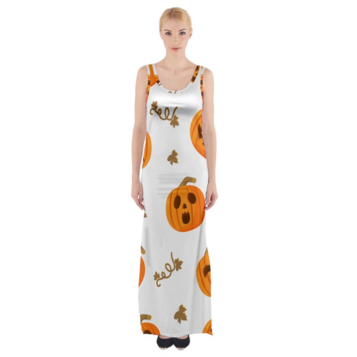 Funny Spooky Halloween Pumpkins Pattern White Orange Maxi Thigh Split Dress