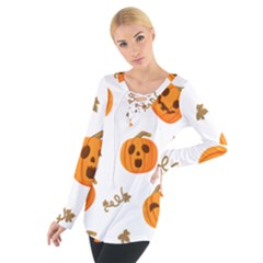 Funny Spooky Halloween Pumpkins Pattern White Orange Tie Up Tee