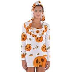Funny Spooky Halloween Pumpkins Pattern White Orange Long Sleeve Hooded T Shirt