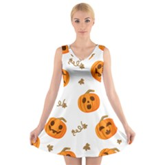 Funny Spooky Halloween Pumpkins Pattern White Orange V Neck Sleeveless Dress