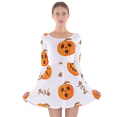 Funny Spooky Halloween Pumpkins Pattern White Orange Long Sleeve Velvet Skater Dress