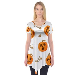 Funny Spooky Halloween Pumpkins Pattern White Orange Short Sleeve Tunic  by HalloweenParty