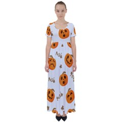 Funny Spooky Halloween Pumpkins Pattern White Orange High Waist Short Sleeve Maxi Dress