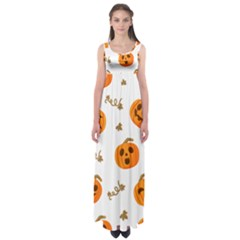 Funny Spooky Halloween Pumpkins Pattern White Orange Empire Waist Maxi Dress