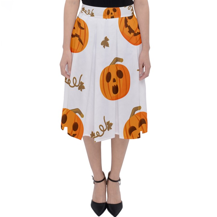 Funny Spooky Halloween Pumpkins Pattern White Orange Classic Midi Skirt