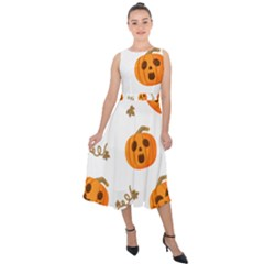 Funny Spooky Halloween Pumpkins Pattern White Orange Midi Tie Back Chiffon Dress