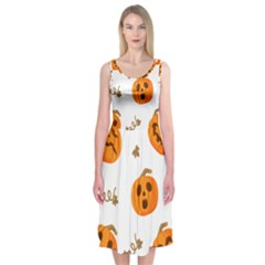 Funny Spooky Halloween Pumpkins Pattern White Orange Midi Sleeveless Dress
