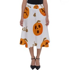 Funny Spooky Halloween Pumpkins Pattern White Orange Perfect Length Midi Skirt