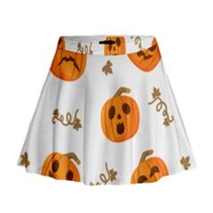 Funny Spooky Halloween Pumpkins Pattern White Orange Mini Flare Skirt