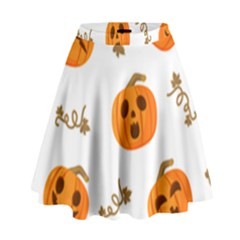 Funny Spooky Halloween Pumpkins Pattern White Orange High Waist Skirt