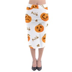 Funny Spooky Halloween Pumpkins Pattern White Orange Midi Pencil Skirt