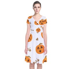 Funny Spooky Halloween Pumpkins Pattern White Orange Short Sleeve Front Wrap Dress