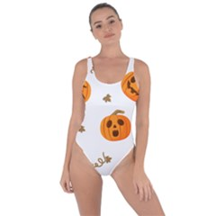 Funny Spooky Halloween Pumpkins Pattern White Orange Bring Sexy Back Swimsuit