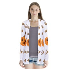 Funny Spooky Halloween Pumpkins Pattern White Orange Drape Collar Cardigan