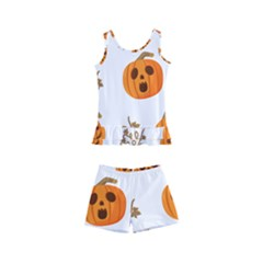 Funny Spooky Halloween Pumpkins Pattern White Orange Kid s Boyleg Swimsuit