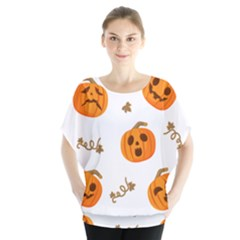 Funny Spooky Halloween Pumpkins Pattern White Orange Batwing Chiffon Blouse
