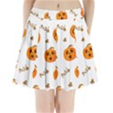 Funny Spooky Halloween Pumpkins Pattern White Orange Pleated Mini Skirt View1