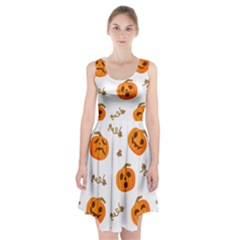 Funny Spooky Halloween Pumpkins Pattern White Orange Racerback Midi Dress