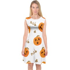 Funny Spooky Halloween Pumpkins Pattern White Orange Capsleeve Midi Dress