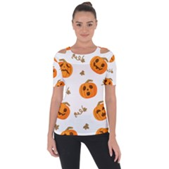 Funny Spooky Halloween Pumpkins Pattern White Orange Shoulder Cut Out Short Sleeve Top