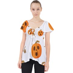 Funny Spooky Halloween Pumpkins Pattern White Orange Lace Front Dolly Top