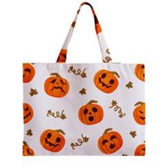 Funny Spooky Halloween Pumpkins Pattern White Orange Medium Tote Bag