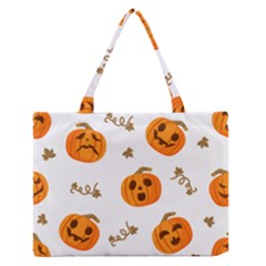 Funny Spooky Halloween Pumpkins Pattern White Orange Zipper Medium Tote Bag