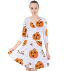 Funny Spooky Halloween Pumpkins Pattern White Orange Quarter Sleeve Front Wrap Dress by HalloweenParty