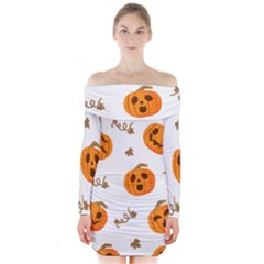 Funny Spooky Halloween Pumpkins Pattern White Orange Long Sleeve Off Shoulder Dress