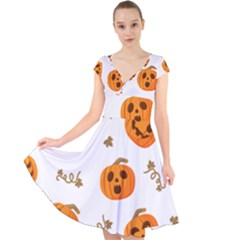 Funny Spooky Halloween Pumpkins Pattern White Orange Cap Sleeve Front Wrap Midi Dress