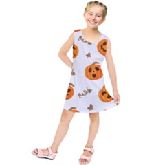 Funny Spooky Halloween Pumpkins Pattern White Orange Kids  Tunic Dress