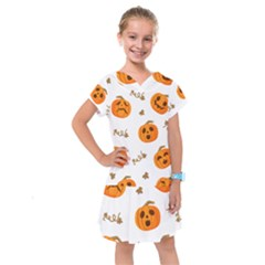 Funny Spooky Halloween Pumpkins Pattern White Orange Kids  Drop Waist Dress