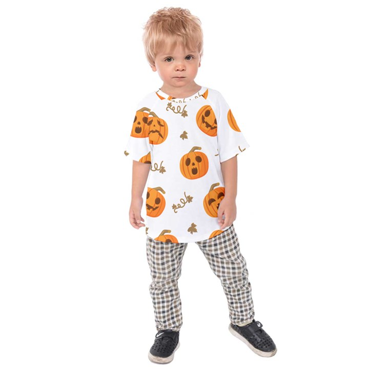 Funny Spooky Halloween Pumpkins Pattern White Orange Kids Raglan Tee